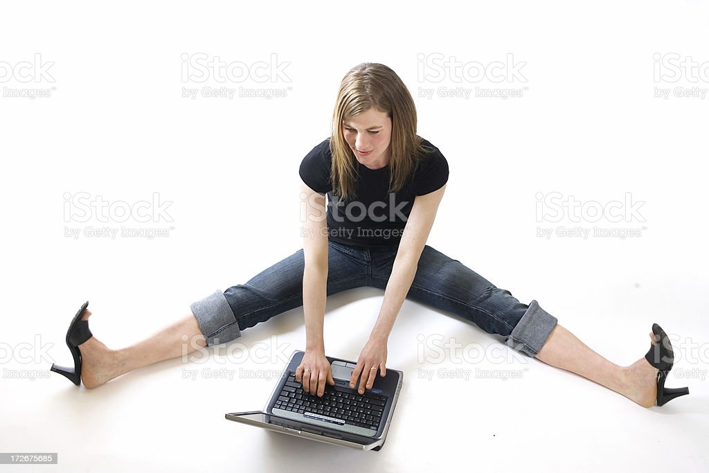 Casual Girl on Laptop royalty-free stock photo