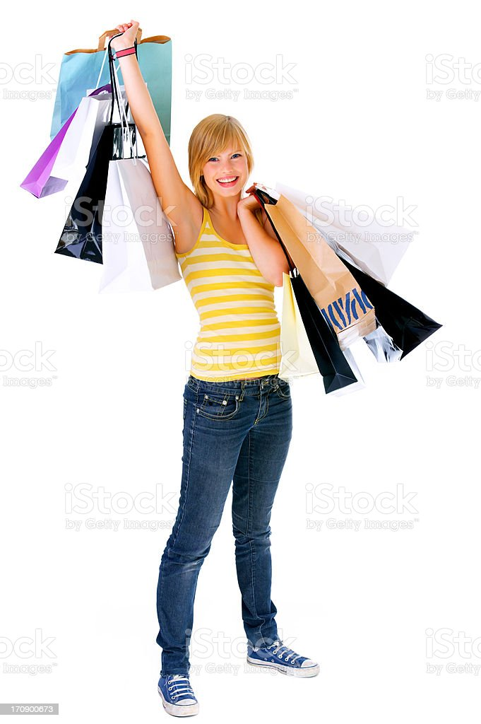 Casual girl with shopping bags stock photo