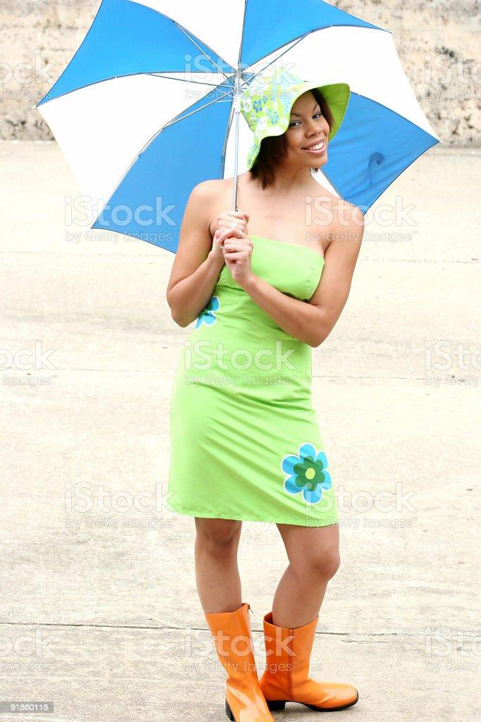 casual girl with umbrella stock photo