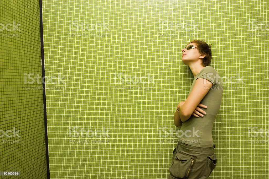 casual green girl - daydreaming landscape 2 royalty-free stock photo