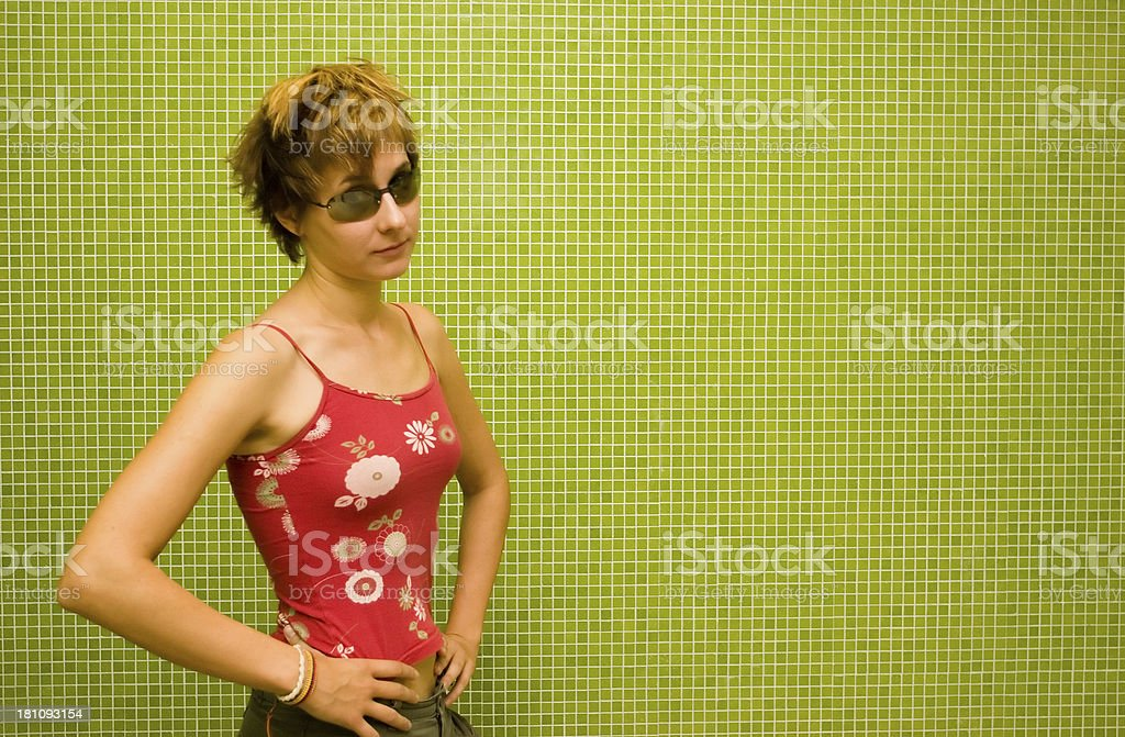 casual green girl - explain it! royalty-free stock photo