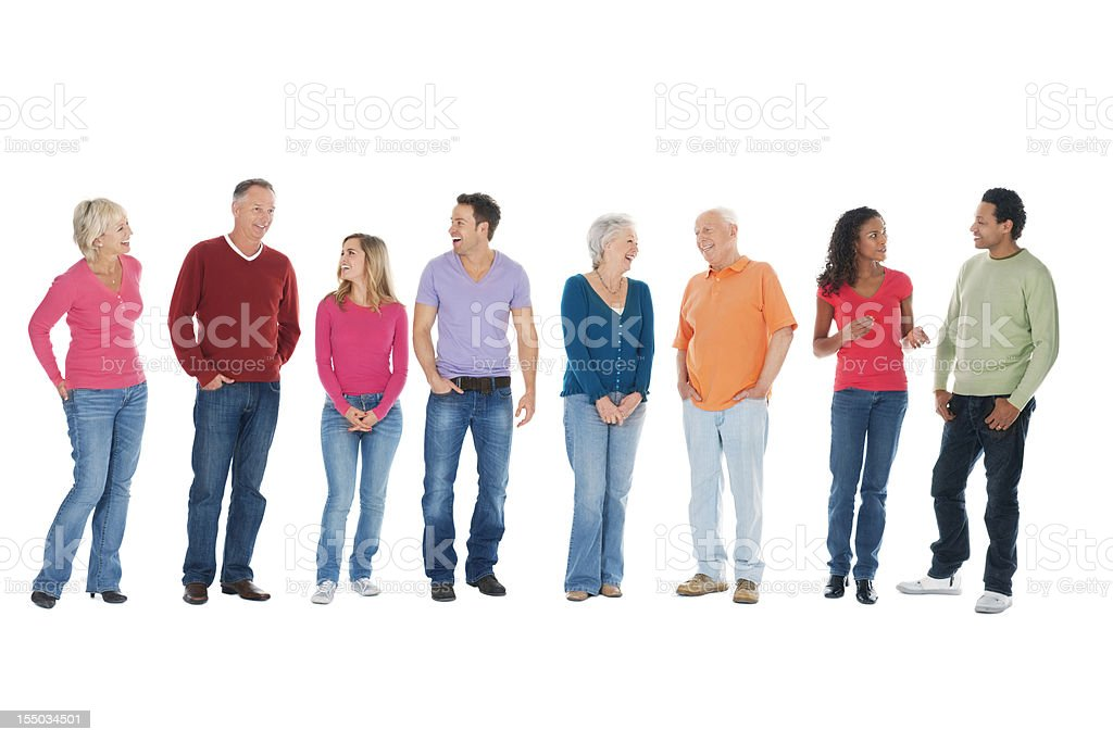 Casual Group of People Talking in a Row - Isolated stock photo
