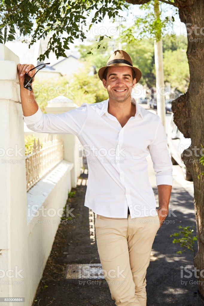 Casual guy smiling stock photo