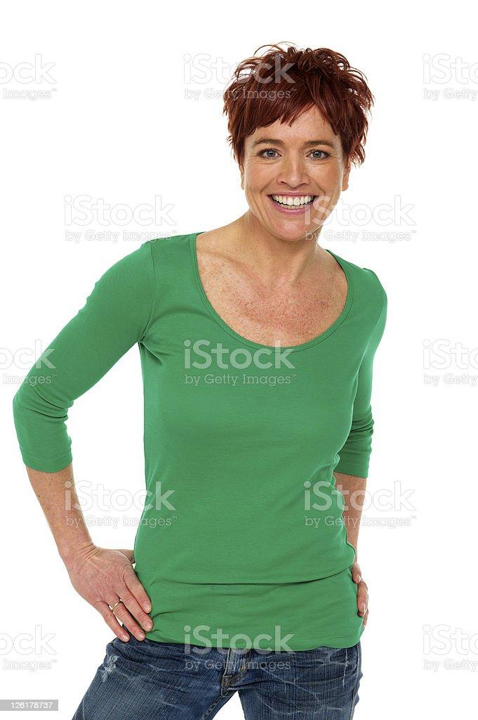 Casual happy woman stock photo