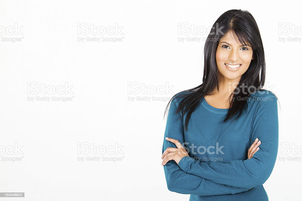 casual Hispanic woman on white stock photo