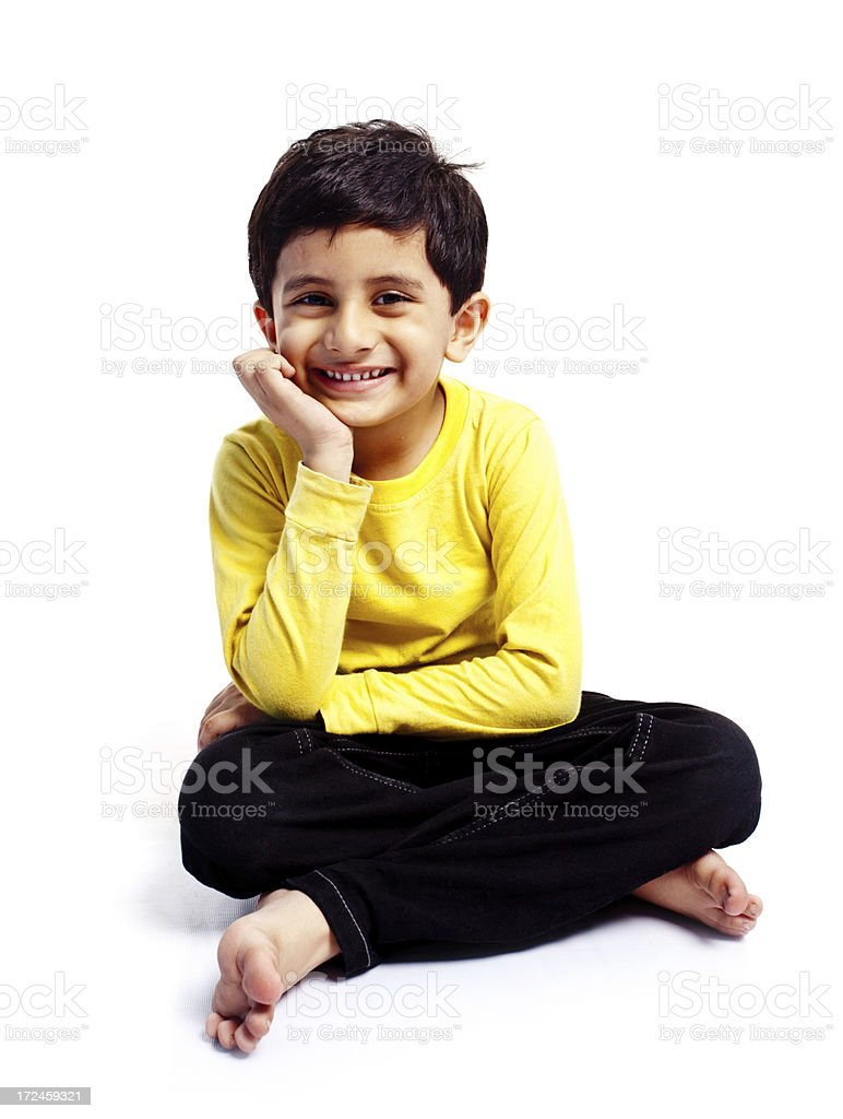 Casual Indian Boy Child Isolated on White Full Length royalty-free stock photo