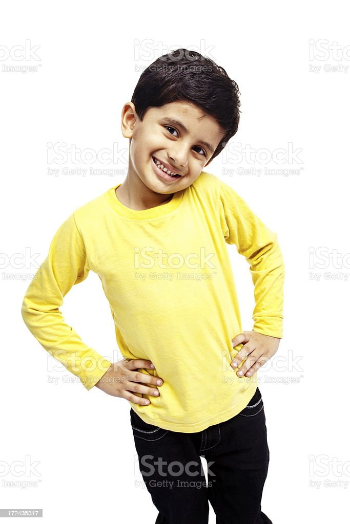 Casual Indian Boy Child isolated White hands on waist royalty-free stock photo