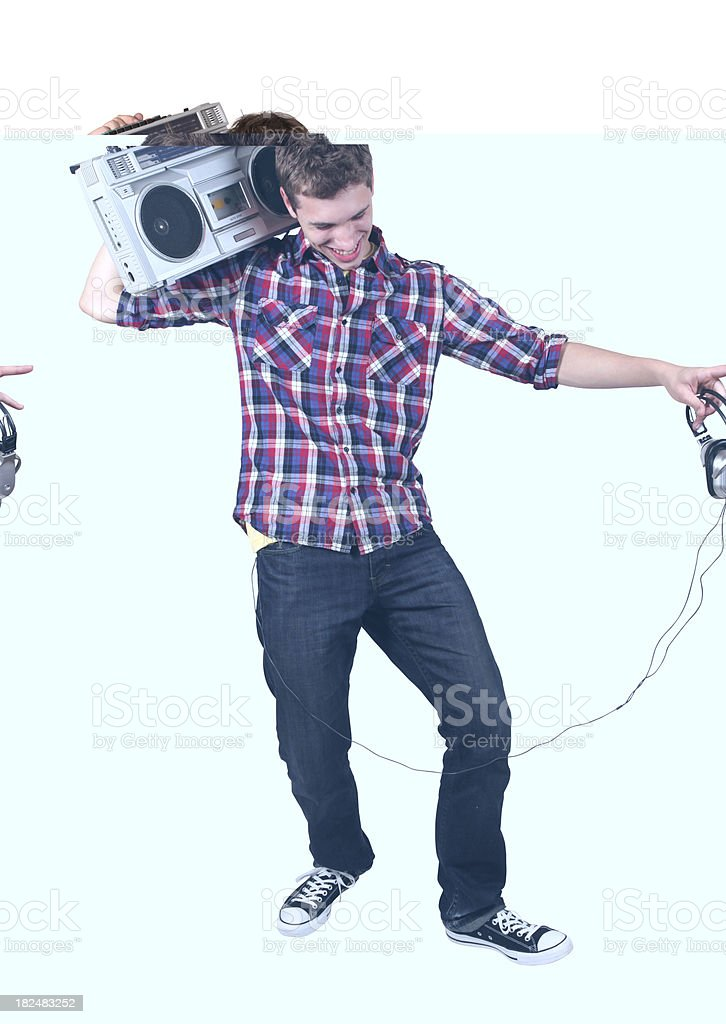 Casual male holding boom box on shoulder stock photo
