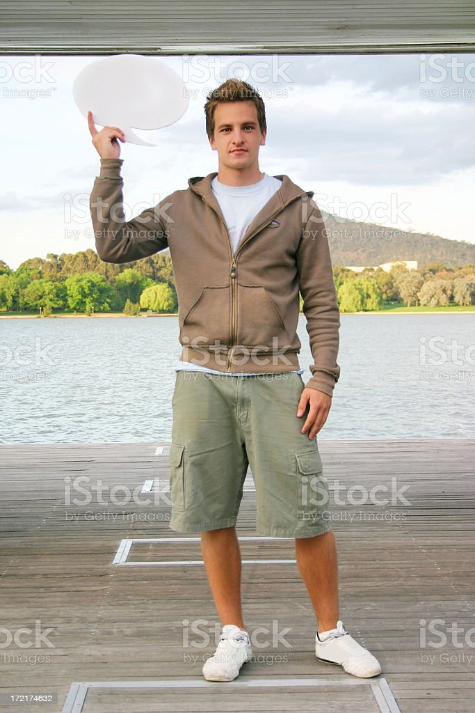 Casual Male - Holding speech bubble royalty-free stock photo