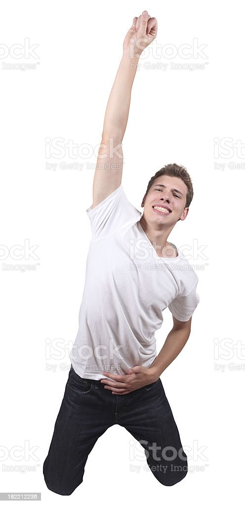 Casual Male Jumping stock photo