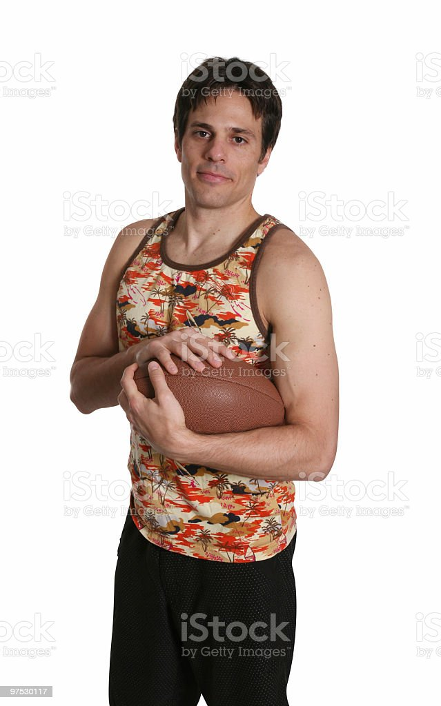 Casual male with football royalty-free stock photo