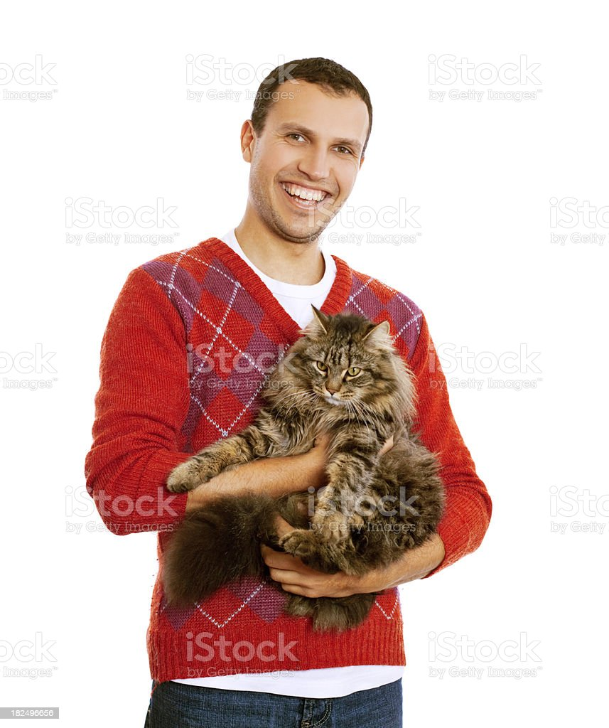 casual man and cat royalty-free stock photo