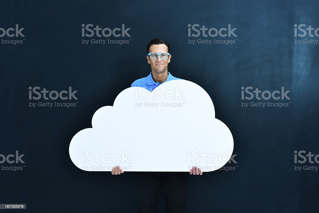 Casual man and cloud computing concept royalty-free stock photo