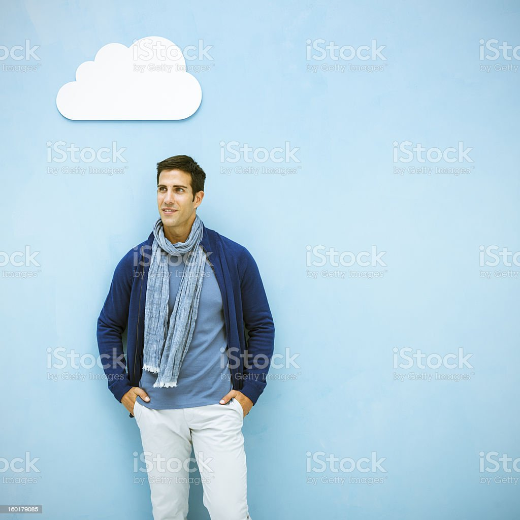 Casual man and cloud computing royalty-free stock photo