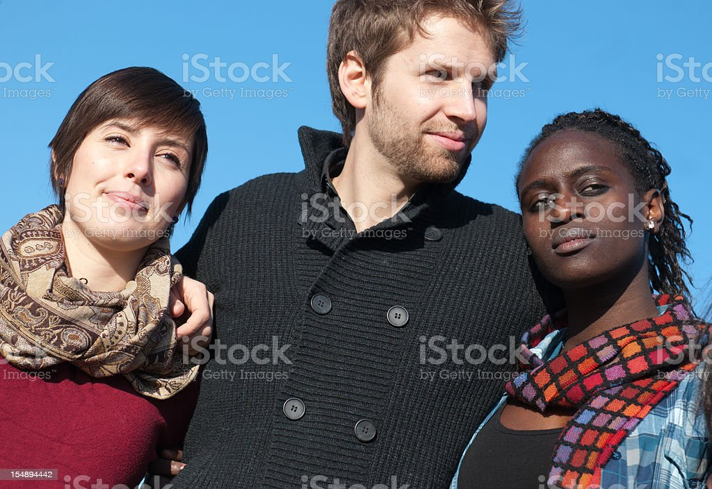 Casual  man and woman having a great time outdoors royalty-free stock photo