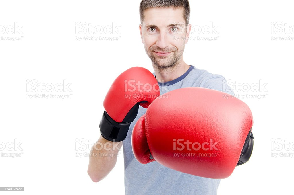 Casual Man, Boxing Gloves, Conflict Concept royalty-free stock photo