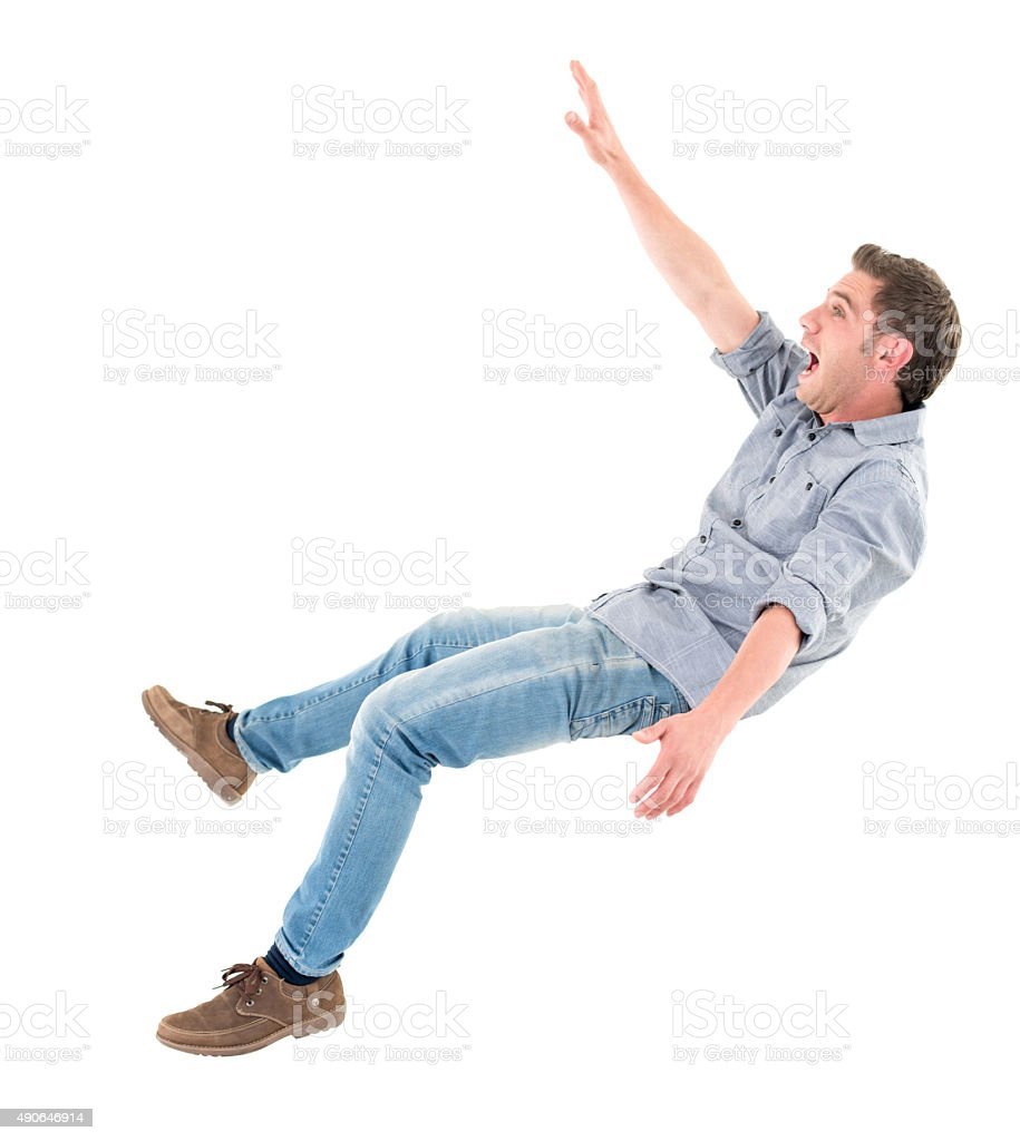 Casual man falling stock photo