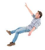 Casual man falling
