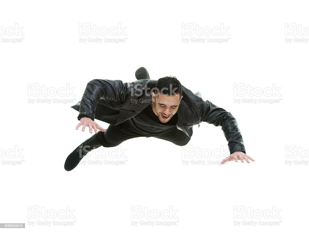 Casual man falling stock photo
