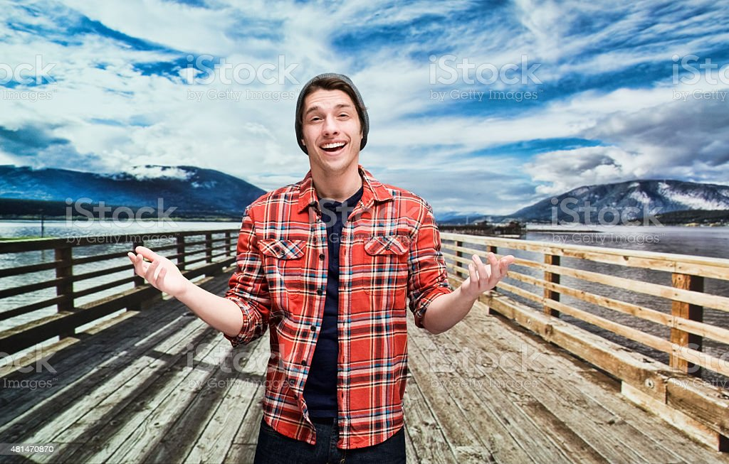 Casual man in nature stock photo