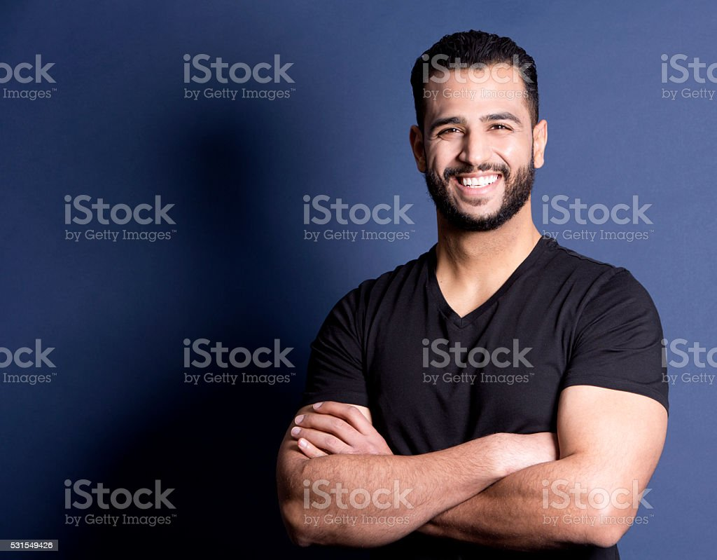 casual man on blue stock photo