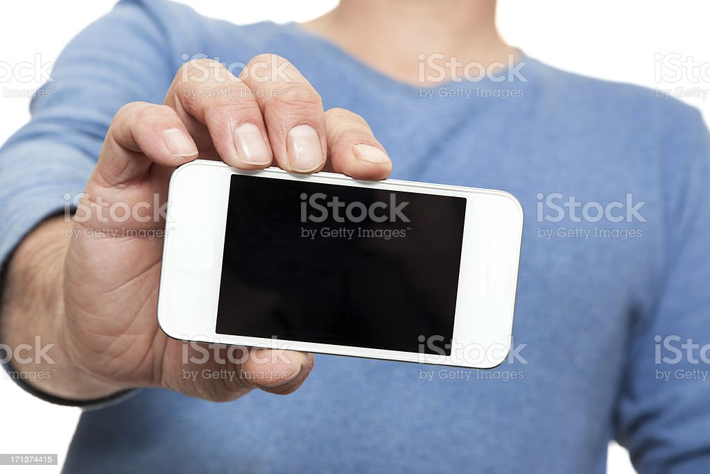 Casual Man Showing His Mobile Smart Phone stock photo