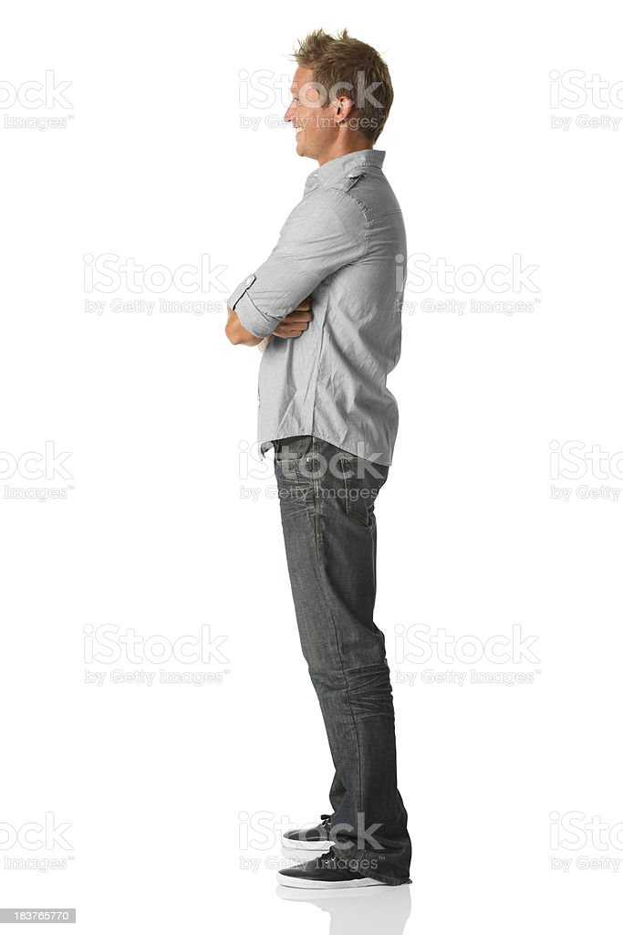 Casual man side view stock photo