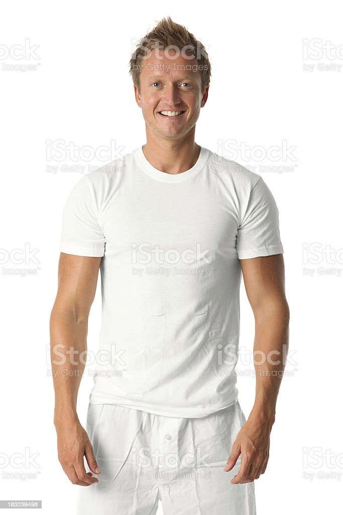 Casual man standing in boxers and t-shirt royalty-free stock photo