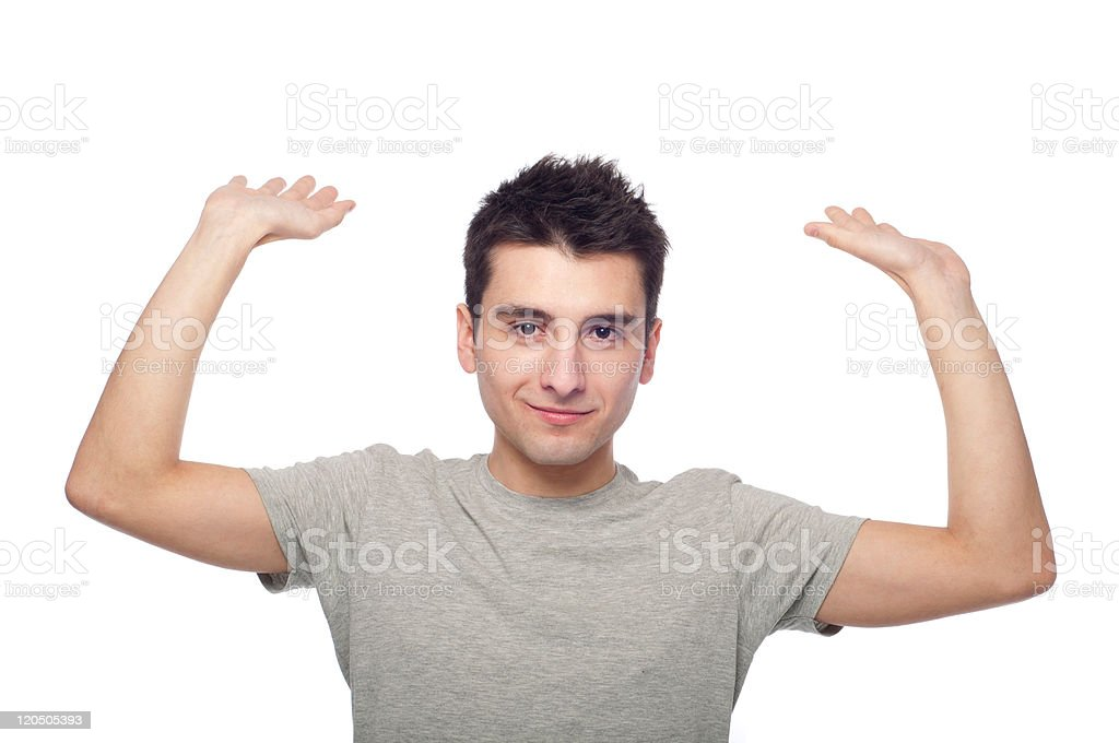 Casual man trapped stock photo