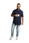 Casual man with a coffee mug