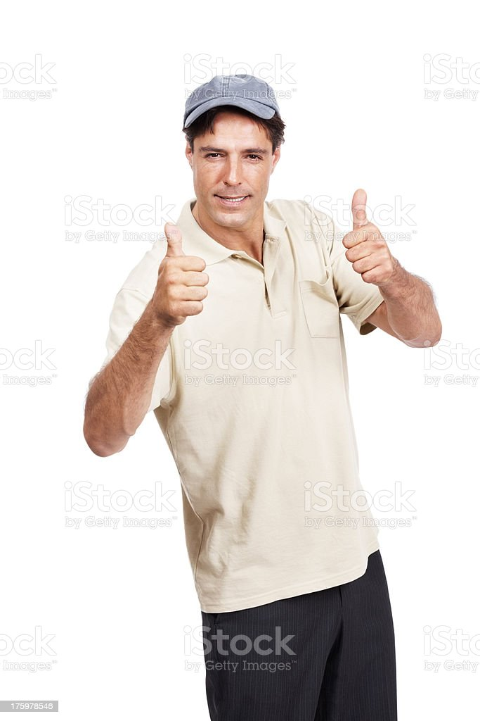 Casual mature man showing good luck sign  stock photo
