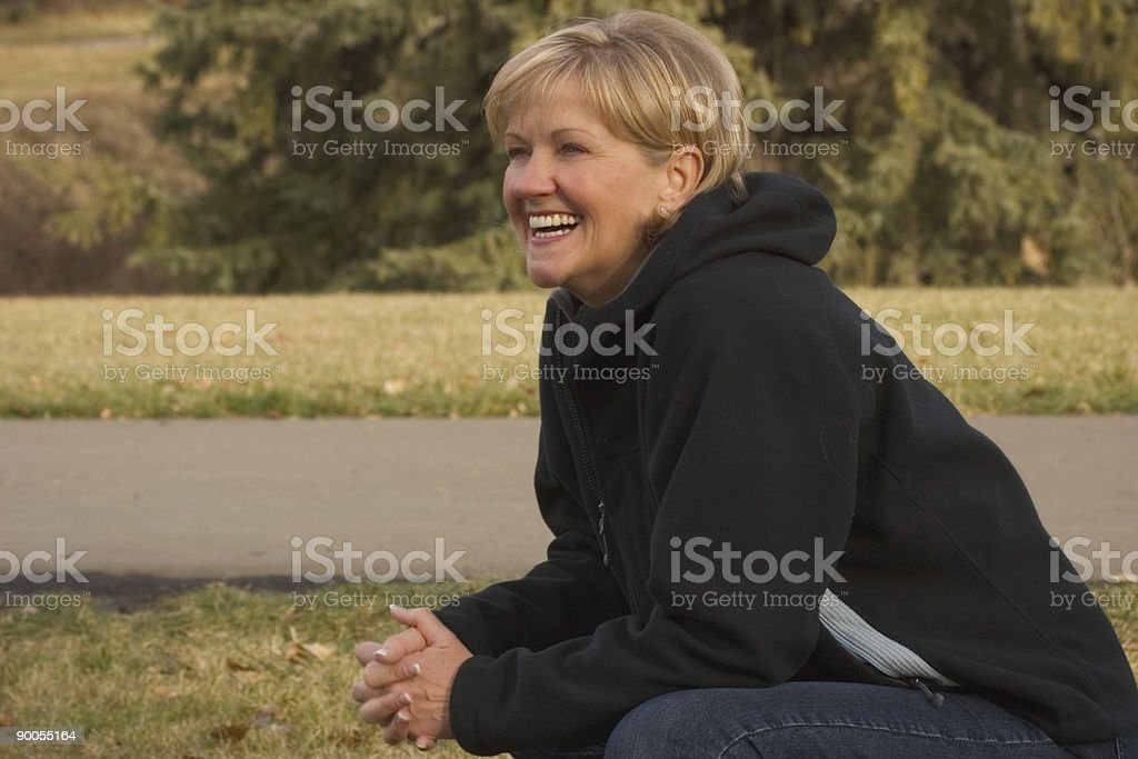Casual Mature Woman Laughing royalty-free stock photo