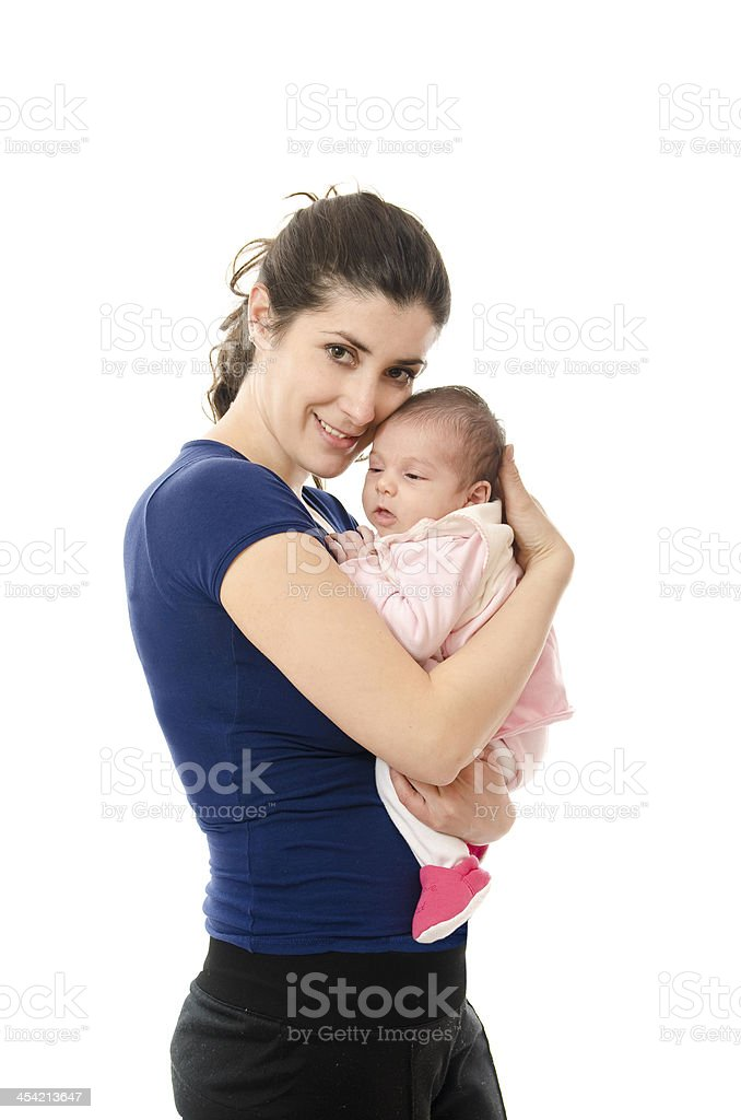 Casual mother and her little newborn. stock photo