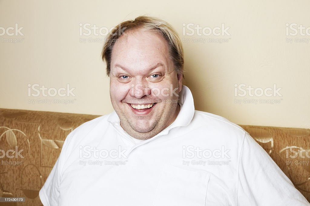 casual overweight man smile royalty-free stock photo
