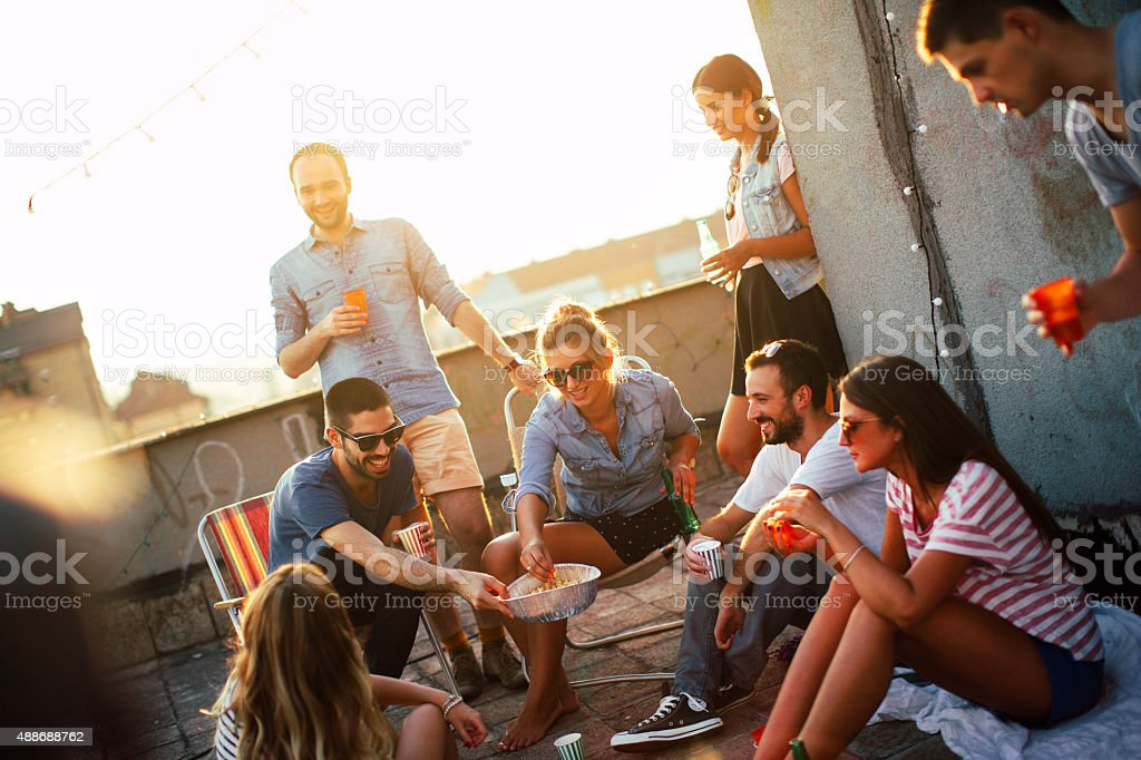 Casual party on the roof stock photo