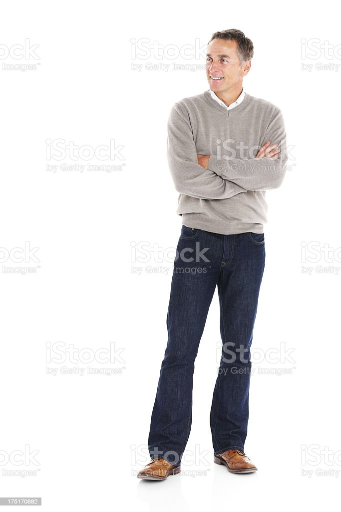 Casual senior man looking at copyspace royalty-free stock photo