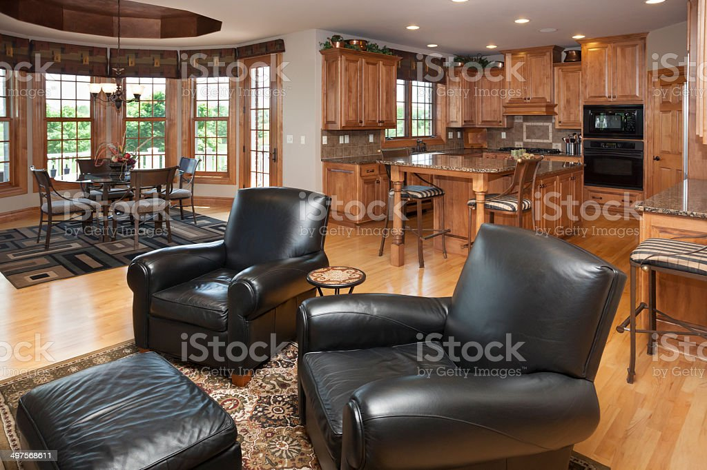 Casual Sitting Area In Open Concept Home Kitchen Dining Room Royalty Free