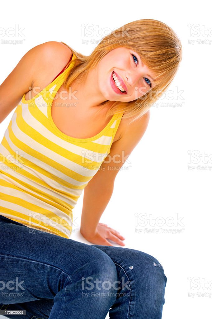 Casual student sitting down stock photo