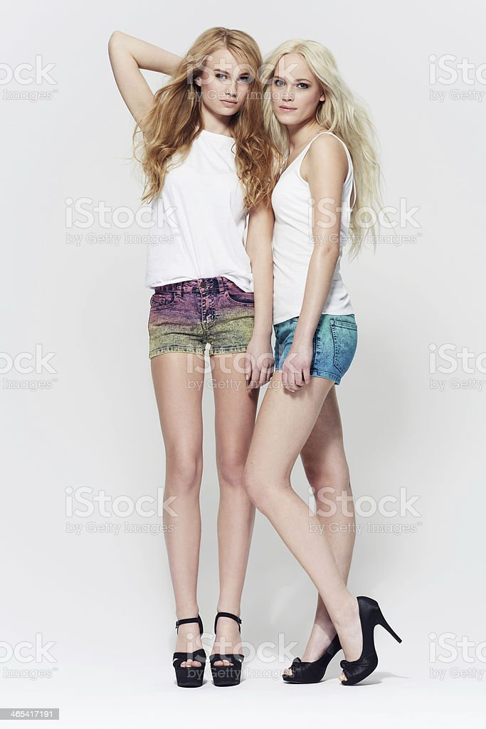 Casual style dressed up with heels! stock photo