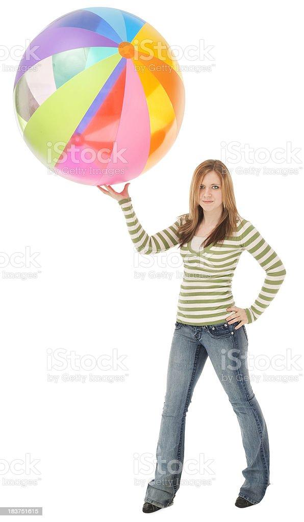 Casual Teen with Beach Ball stock photo