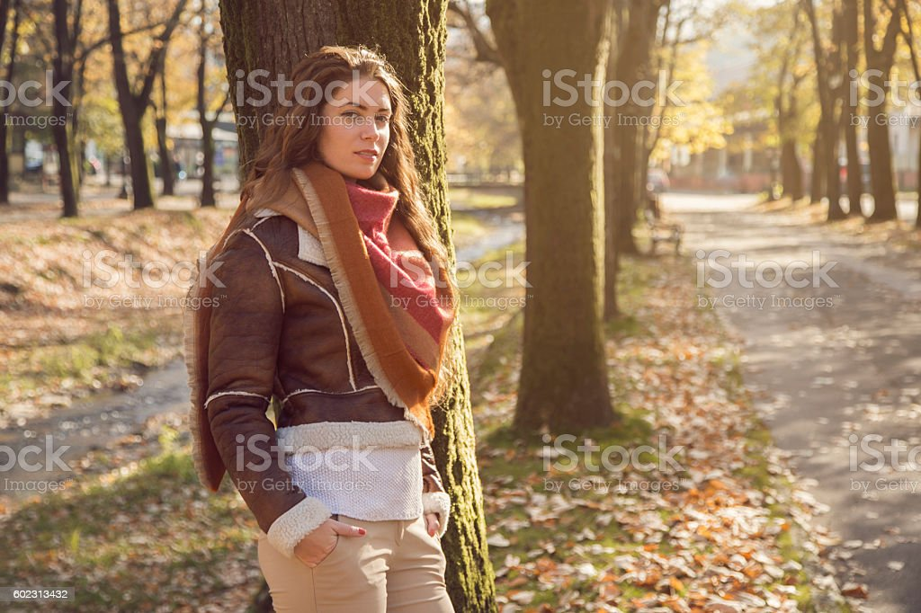 Casual walk on the autumn day stock photo