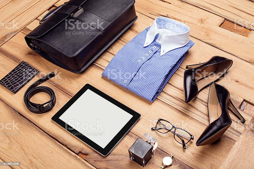 casual woman business  outfit stock photo