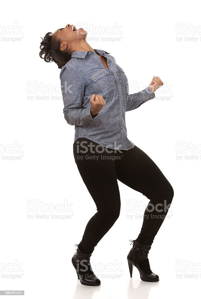 casual woman excited royalty-free stock photo