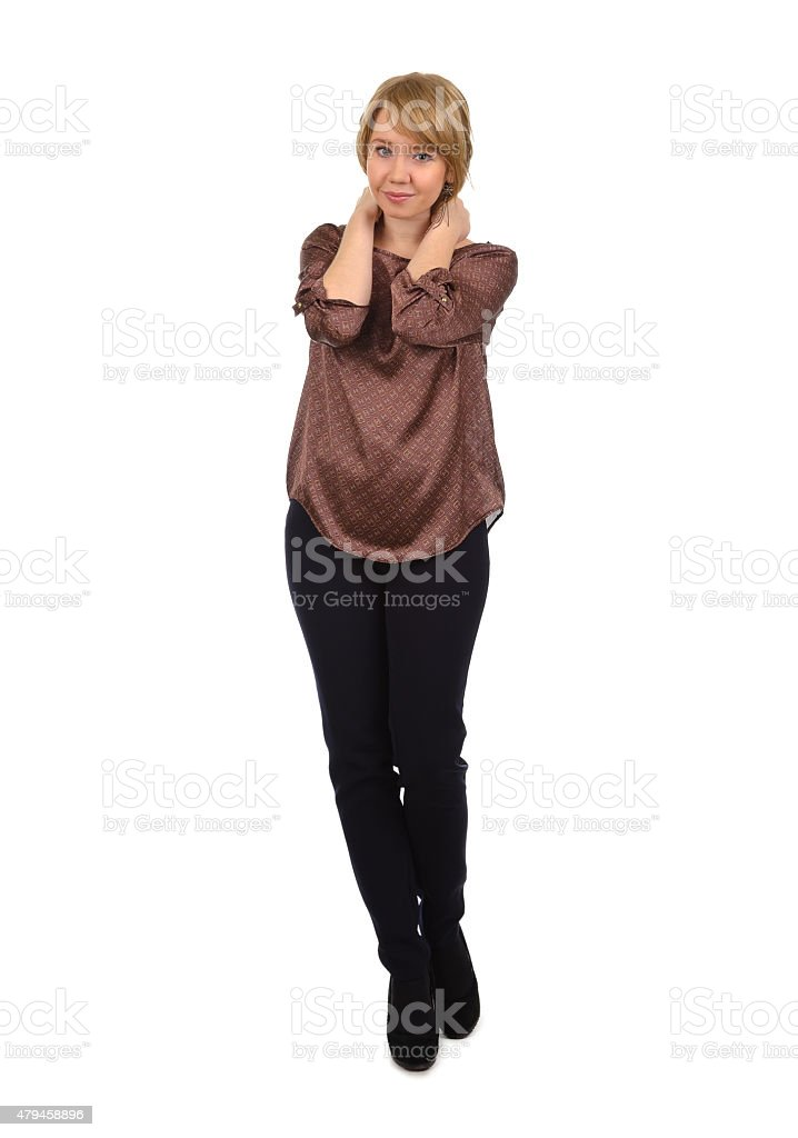Casual woman isolated on white stock photo