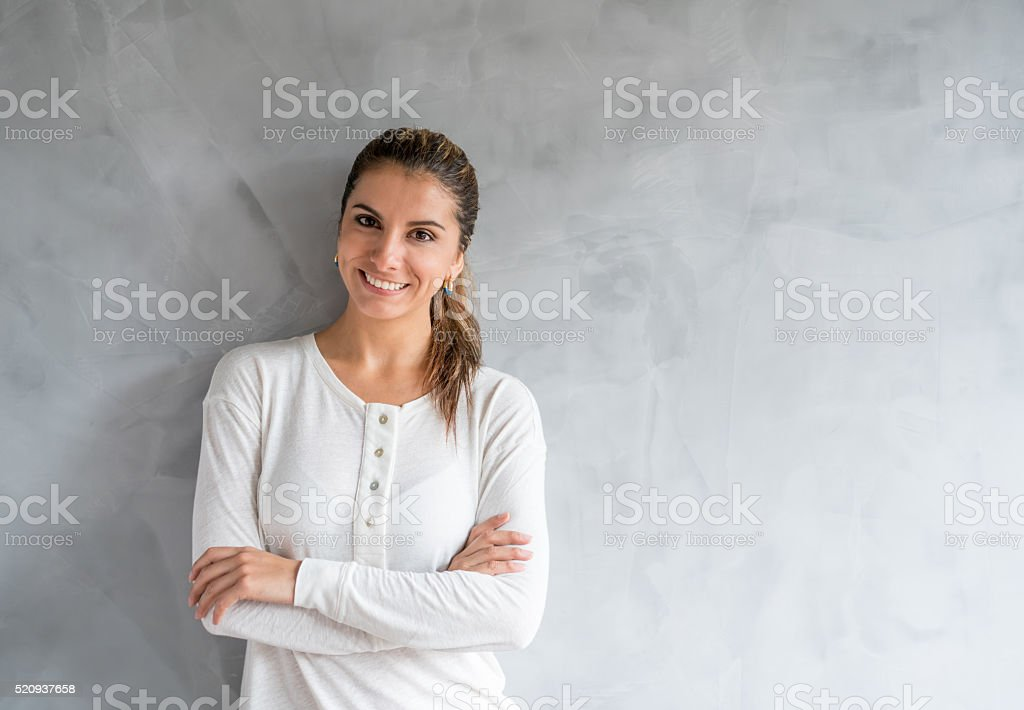 Casual woman looking happy stock photo