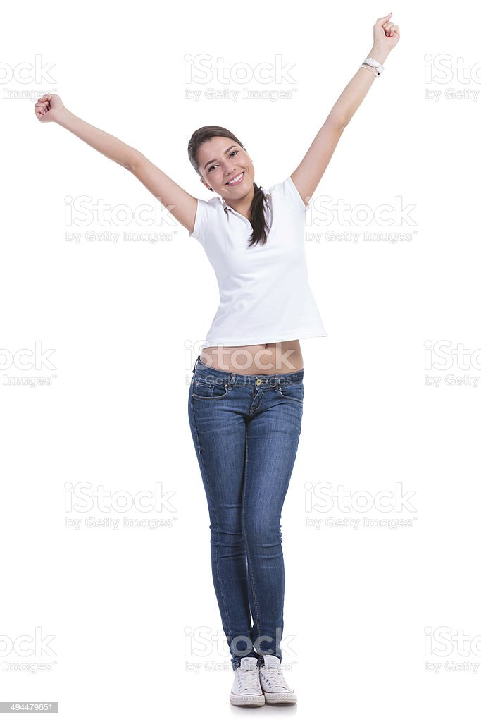 casual woman making Y with hands stock photo
