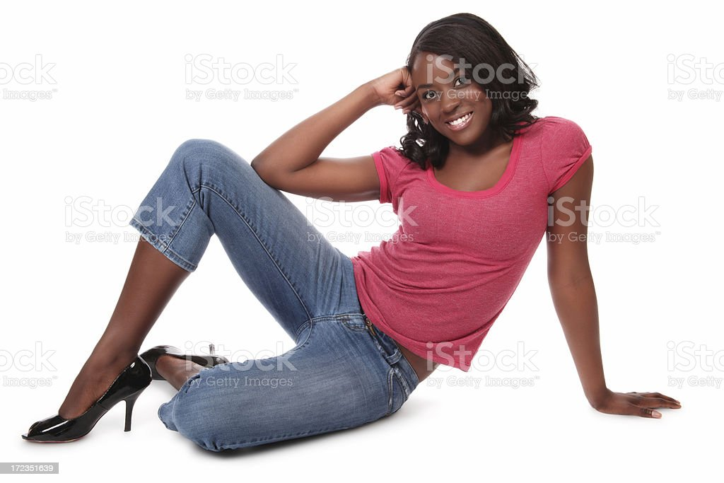 Casual Woman Sitting on Floor stock photo