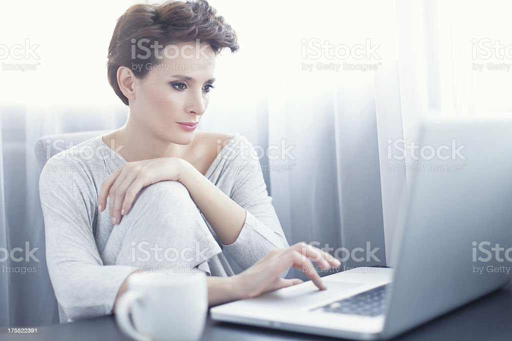 Casual Woman with Computer stock photo
