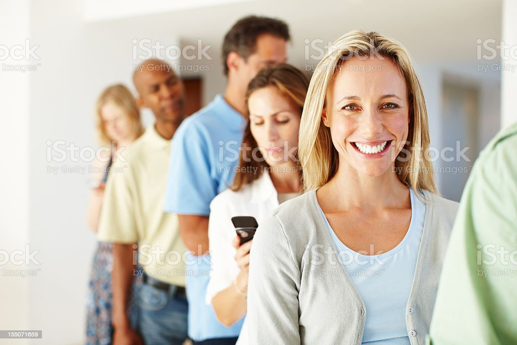 Casual woman with in a queue royalty-free stock photo