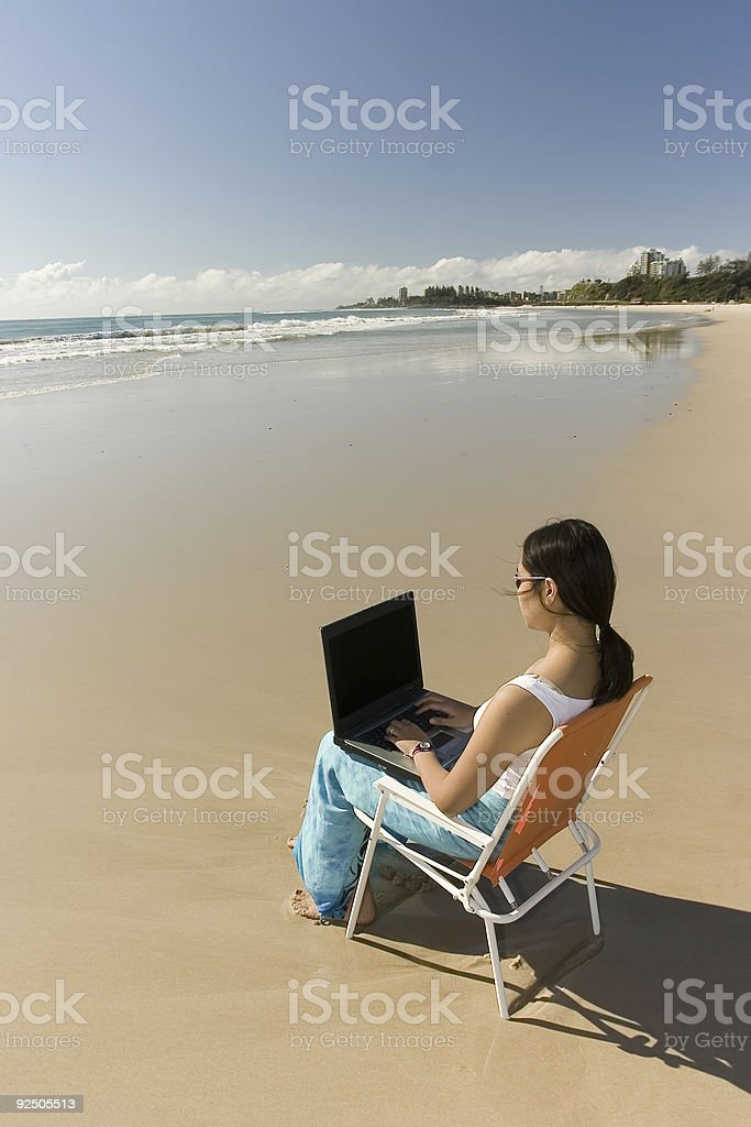Casual Worker at the beach royalty-free stock photo